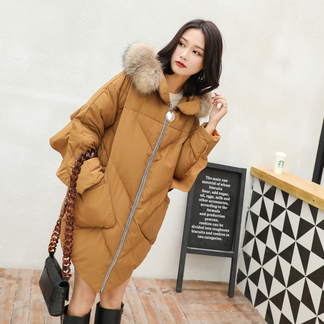2018 Winter Women's Long Bat Sleeve Thickening Down Jackets Fashion Ruffles Hooded Down Coats with Real Fur