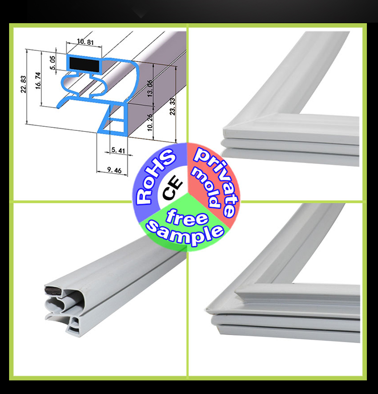Commercial Stainless Steel Refrigerator Door Seal Magnetic Sealing Strip Door Rubber Gasket Four Door Six Door Universal