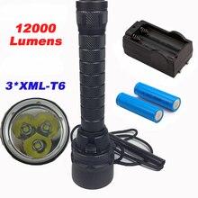 12000 lúmenes Linterna Profesional de Buceo Antorcha 3 xCREE XML-T6 Lámpara linternas de Buceo Impermeable del Flash de Luz Bajo El Agua 200 metro