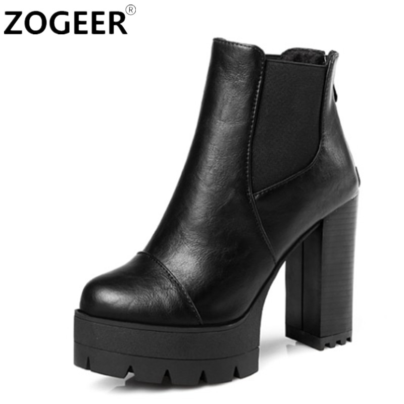 ZOGEER Hot 2018 Sexy Women Boots Fashion Platform punk Square high heels Black Ankle boots For Woman Brand Design Ladies Shoes 35 55mm door thickness door handle brass lock with 70mm key lock page 5