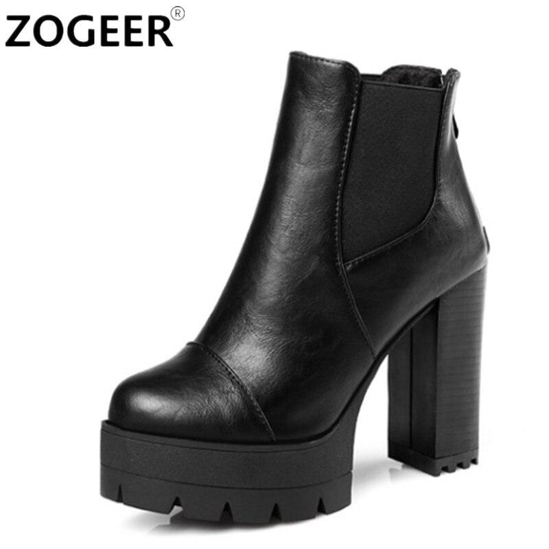 Zogeer/Новый 2017 Пикантные женские ботинки Модная обувь на платформе в стиле панк квадратный Обувь на высоком каблуке черные ботильоны для женщин бренд Дизайн Дамская обувь