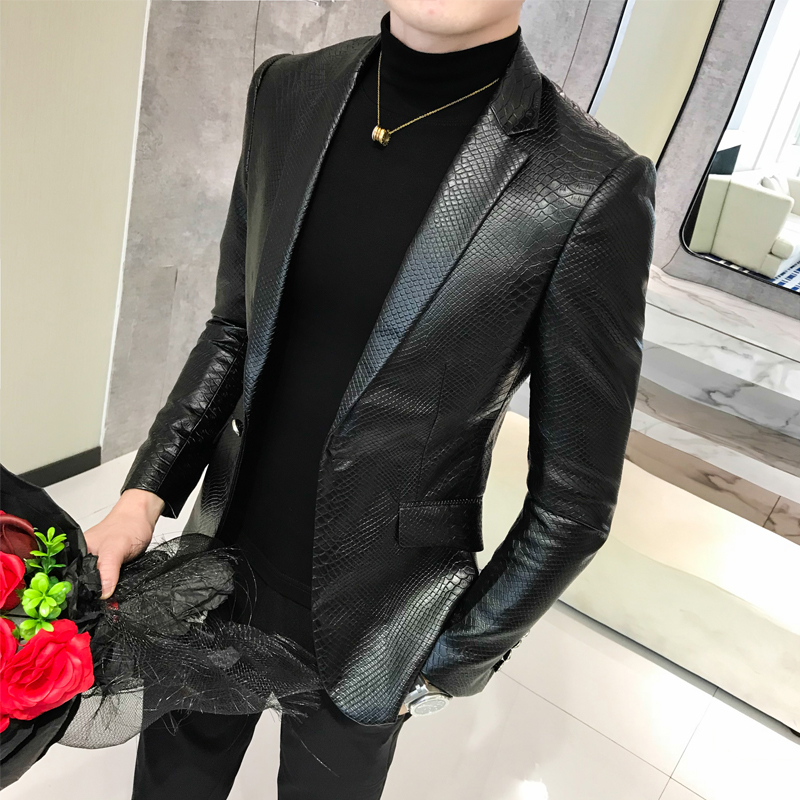2019 nouveau printemps et automne été en cuir fourrure manteau en cuir hommes Slim costume en cuir costume tendance mode décontracté hommes veste