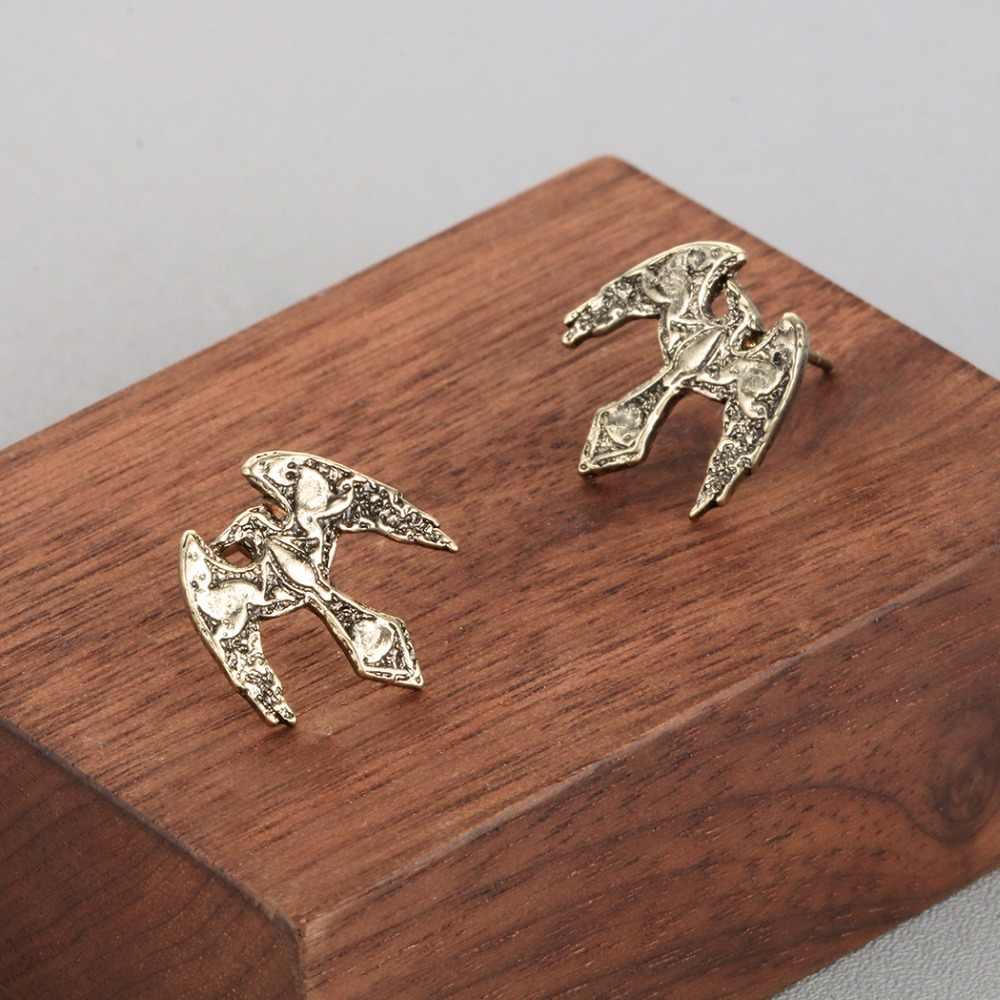 QIMING Slavic Retro Earrings For Women Men Raven Eagle Falcon Vintage Animal Bird Charm Viking Odin Amulet Stud Male Earring