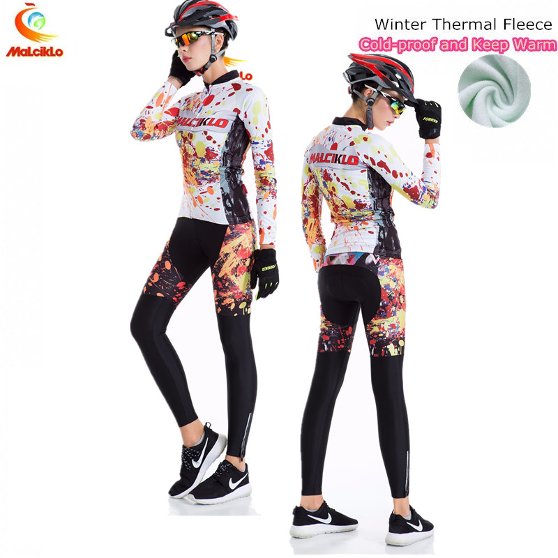 Passion Flame Winter Thermal Fleece Cycling Jersey 2017 Sets MTB Bike Clothes Ropa Ciclismo Maillot Cycling Clothing Women