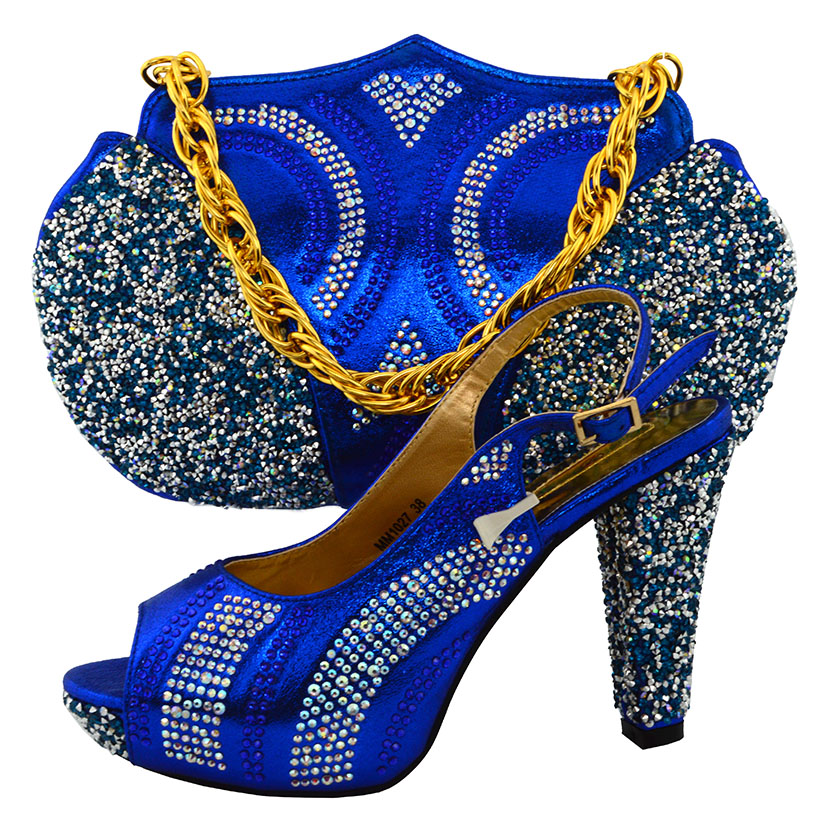 ФОТО African Women Shoes and Matching Bags Set Italian African Wedding Shoe and Bag Sets Decorated with Diamonds for Party  PUW1-53