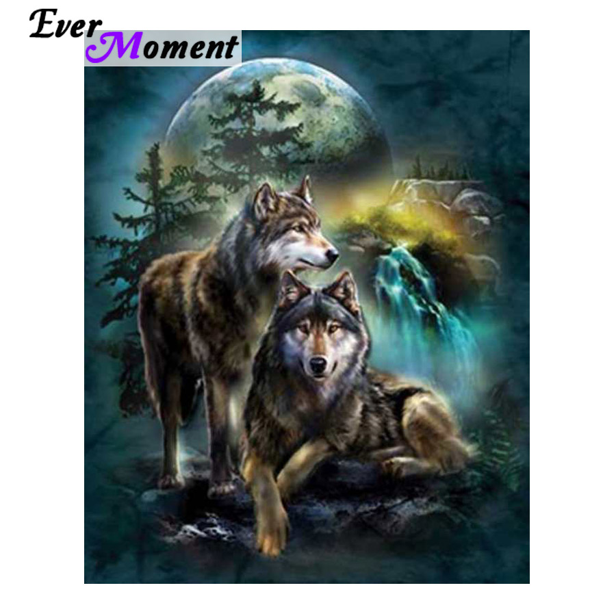 Ever Moment Diamond Embroidery Wolf 5D Full Drill Square Resin Diamond Painting Moon Waterfall Animal Mosaic Kit Craft ASF910Ever Moment Diamond Embroidery Wolf 5D Full Drill Square Resin Diamond Painting Moon Waterfall Animal Mosaic Kit Craft ASF910