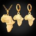 Mapa de áfrica Conjunto de Joyas Para Las Mujeres de África Joyería de Oro/Oro Rosa Plateado Pendientes Del Collar Al Por Mayor S873