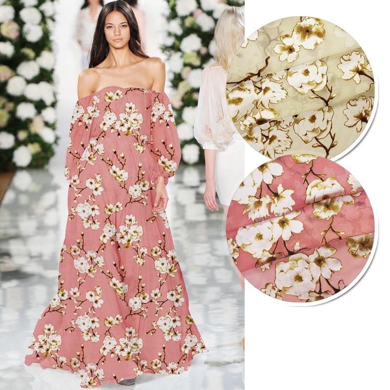 136 CM 72 G/M Beige rose mince brûlé soie Nylon rayonne tissu pour été une pièce robe chemise vêtements veste JH040