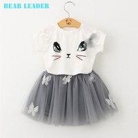 Bear Leader Girl Dress 2016 New Summer Casual Style Cartoon Kitten Printed T Shirts Net Veil