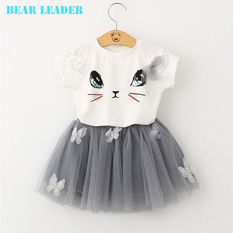 Платье для девочек от Bear Leader 2018 новый летний Повседневное Стиль Футболка с принтом «Котенок» Рубашки для мальчиков + платье с вуалью 2 шт. для Одежда для девочек 2–6 лет
