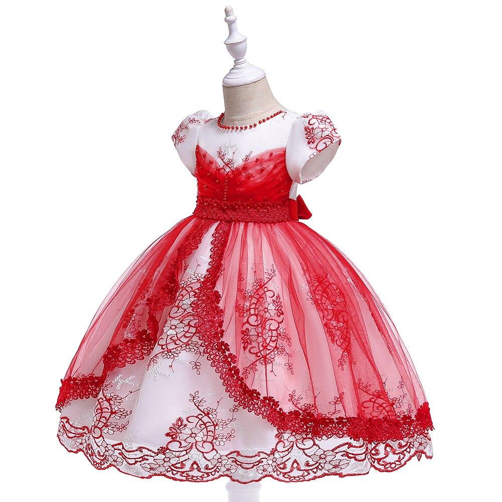 Princess Ball Gown Lace   Flower     Girl     Dresses   2019 Big Sash Mini Length   Girls   Pageant   Dresses   First Communion   Dresses