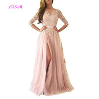 Half Sleeves Lace Appliqued Prom Dress Sexy Side Split Backless Tulle Party Gown Sheer Neck Long Evening Dress vestido formatura