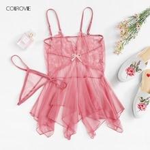 COLROVIE, ассиметричный сетчатый галстук, летний ночной комплект, новинка, фиолетовые Кружевные Женские Романтические ночные сорочки, без рукавов, сексуальный, v-образный вырез, Пижама