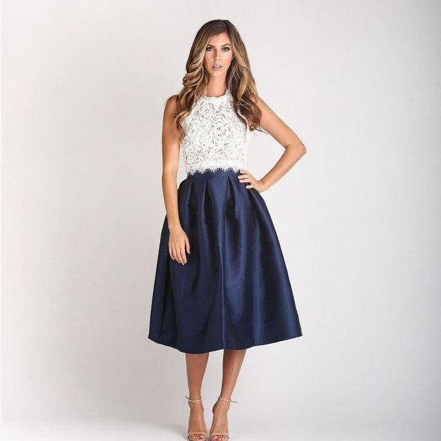 f13b39e44ef Falda Midi de calidad superior para mujer en satén azul marino Falda  plisada de cintura alta