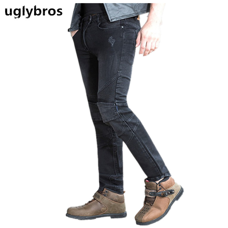 Uglybros Featherbed Jeans Black Men s Motorcycle Jeans Protection moto pants detachable protector racing pants
