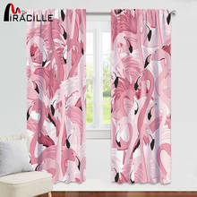 Miracille Flamingo Printed Curtains Modern Style Pink Drapes Blackout For Bedroom Children Room Treatments