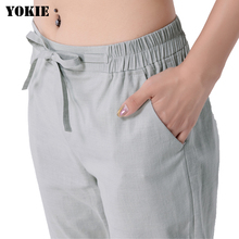 Harem pants women cotton linen loose elastic high waist soli