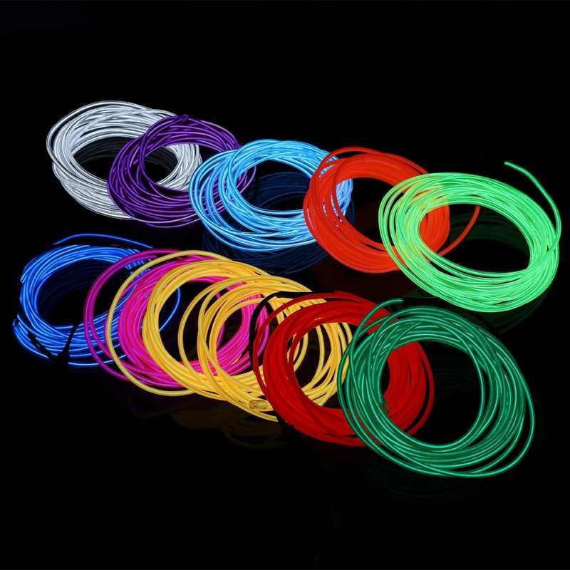 1 м 3 м 5 м водонепроницаемый светодиодный элемент с холодным светом полосы света неоновые светящиеся осветляющие веревки трубки кабельный контроллер батарея для дома автомобиля вечерние украшения