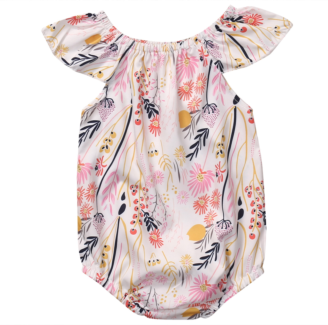 2018 Hot Sale Baby Girls Floral Clothes Short Sleeve branches of the flower Romper Jumpsuit Sunsuit Baby Summer Clothing CXD0