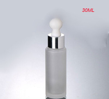 30ML frosted glass dropper glass bottle withshiny silver collar &white top lotion bottle  glass bottle Cosmetic Packaging