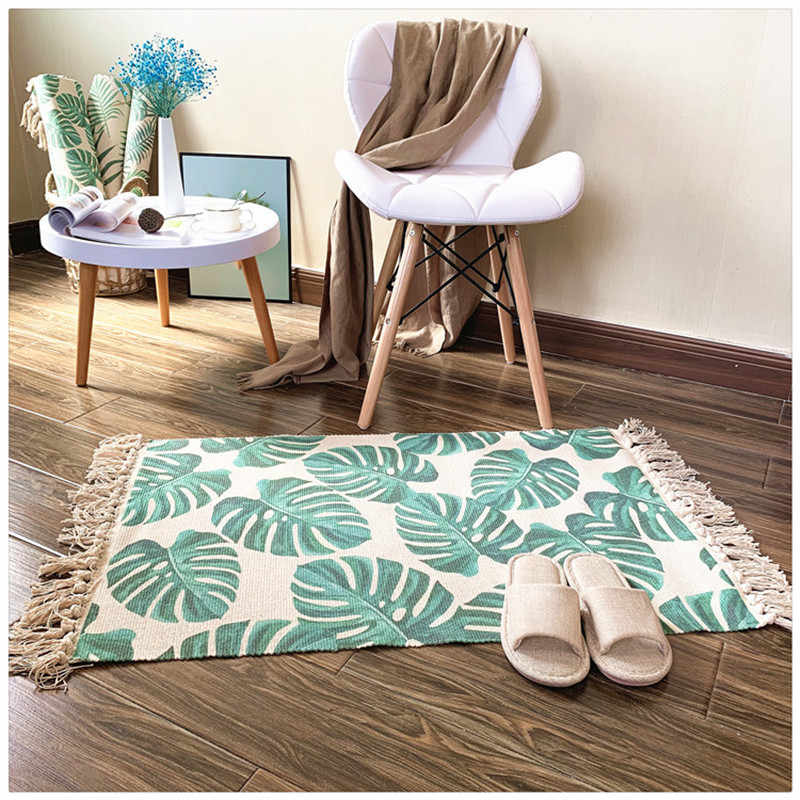 Retro Carpet For Sofa Living Room Bedroom Cotton Tassels Area Rugs Yarn Dyed Table Ruuner Bedspread Tapestry Home Decoration