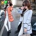 Primavera Outono Moda Sólidos long Coat Mulheres trench Manga Comprida Wide-Cintura de Algodão Mulheres Kimono Cardigan
