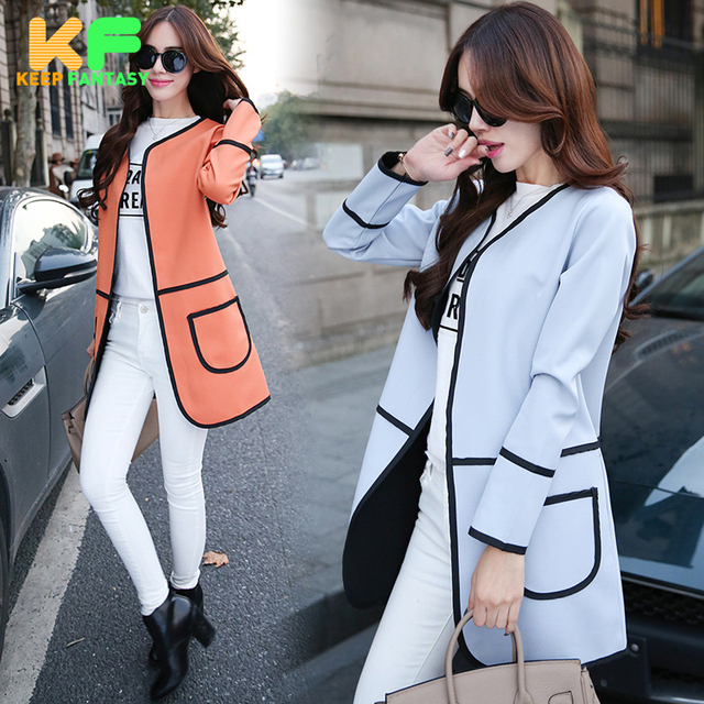 Spring Autumn Fashion Solid long Women Trench Coat Long Sleeve Wide-Waisted Cotton Women Kimono Cardigan