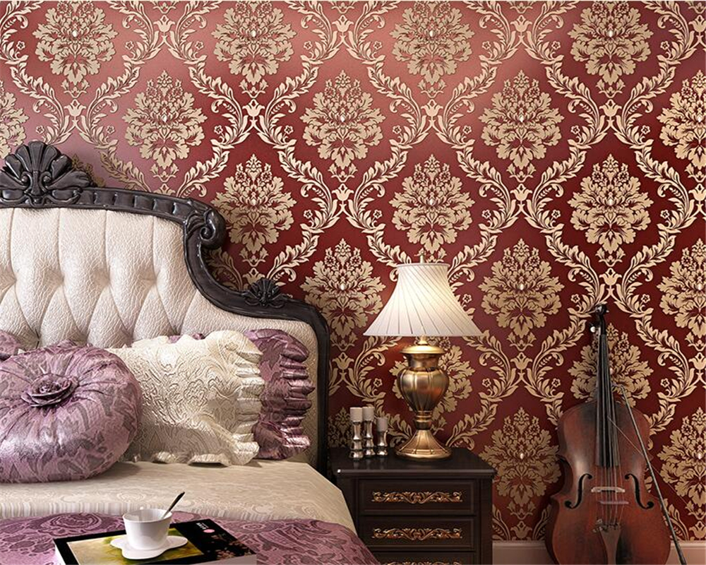 ФОТО Beibehang European 3d wallpapers living room bedroom gold full of couch TV background wall Damascus carved with wallpaper