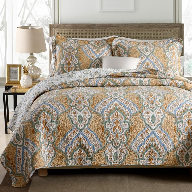 FADFAY Luxury Vintage Quilt Set Paisley Bedding Sets 3 Piece Soft 100%  Cotton Bedding