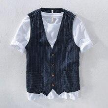 Летняя мужская жилетка большого размера, модная повседневная жилетка в полоску, Мужская жилетка с v-образным вырезом и карманами на пуговицах