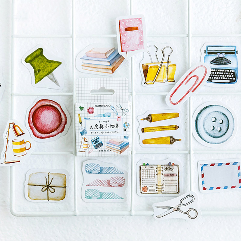46pcs/box Cute Bullet Journal Stickers Stationery Stickers Decorative Adhesive Stickers Scrapbooking Diary DIY For Photo Album
