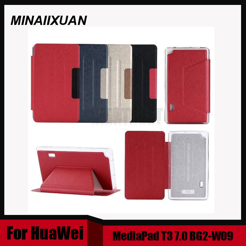 Ultra Slim Folio Stand PU Leather Cover Case for Huawei MediaPad T3 7.0 Wifi BG2-W09 Tablet Cases for Honor Play Pad 2 7.0 +Gift leather case for huawei mediapad t3 7 0 colorful print flip cover cases for honor play pad 2 7 inch wifi bg2 w09 protector