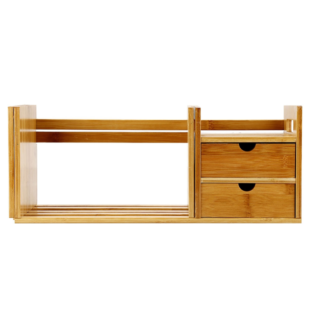 Image 2 - Tabletop Bookcase Bamboo Wood Extendable Desk Tabletop Book Rack Bookshelves Bookcase Organizer with 2 Drawer Tabletop kirjahyll-in Bookcases from Furniture