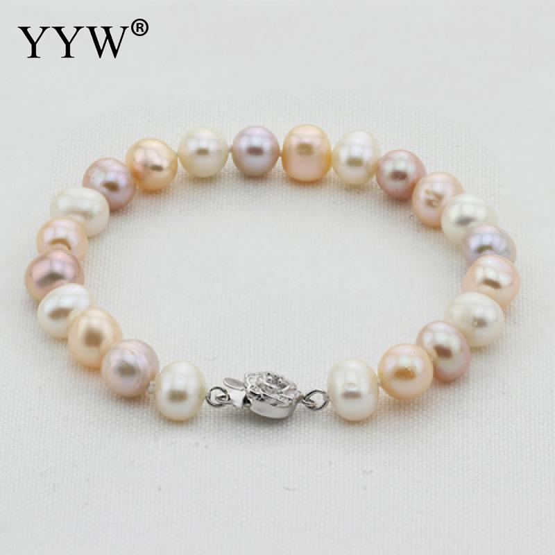 YYW 100% real natural freshwater pearl bracelet mixed color cultured genuine pearl bracelet for woman with silver