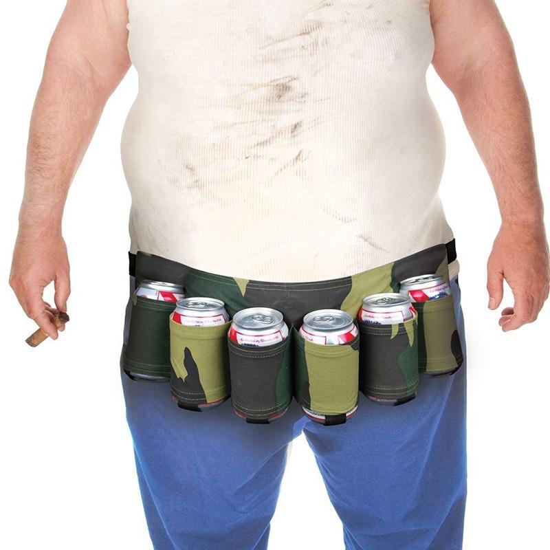 6 Pack Army Green Black Beer Holder Portable Bottle Soda Belt Bag Handy Wine Bottles Beverage Can Holder Outdoor
