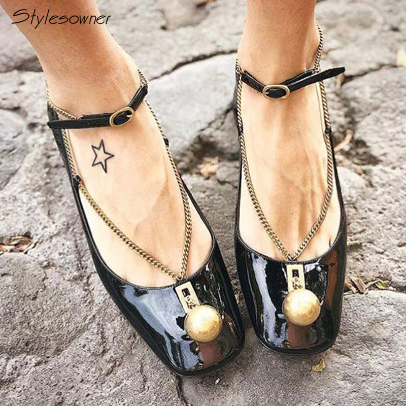 Stylesowner Name Brand Design Chains Mary Janes Pumps Metal Balls Square Toe Pumps Chunky Heel Patent Leather New Fashion ShoesStylesowner Name Brand Design Chains Mary Janes Pumps Metal Balls Square Toe Pumps Chunky Heel Patent Leather New Fashion Shoes