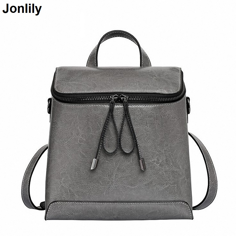 Women Genuine Leather Backpack Women's Backpacks for Teenage Girls Ladies Bags with Zippers School bag Mochila SLI-281 vintage casual leather travel bags famous brand school backpacks women bag mochila backpack lovely girls school bags ladies bag