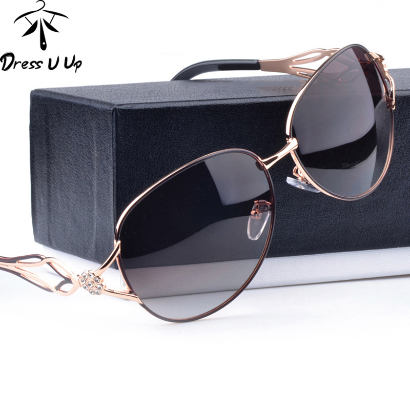 DRESSUUP Fashion Polarized Solglasögon Kvinnor Diamond Luxury Brand Design Sun Glasses Kvinna Polaroid Lens Oculos De Sol Feminino