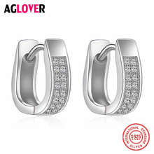Fashion Jewelry 925 Sterling Silver Stud Earring Full AAA Crystal CZ From AGLOVER Brand Womens Earrings  Wedding Gift