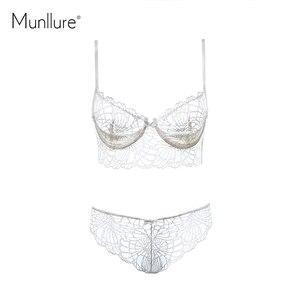 Image 5 - Munllure głębokie V przezroczysta bielizna urok koronki winorośli dekoracyjny wzór seksowny uroczy ultra cienki biustonosz zestaw
