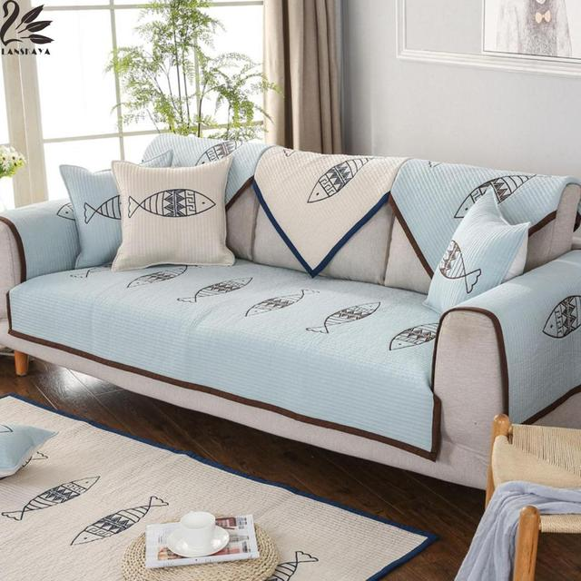 Blue Fish Korean Cotton Washed Sofa Cushions Quilting Embroidery American  Living Room Cushion Pillow Towel Combination