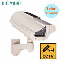 Fake Dummy Solar Powered Security Camera Outdoor RED LED Flashing CCTV Surveillance Fake Camera