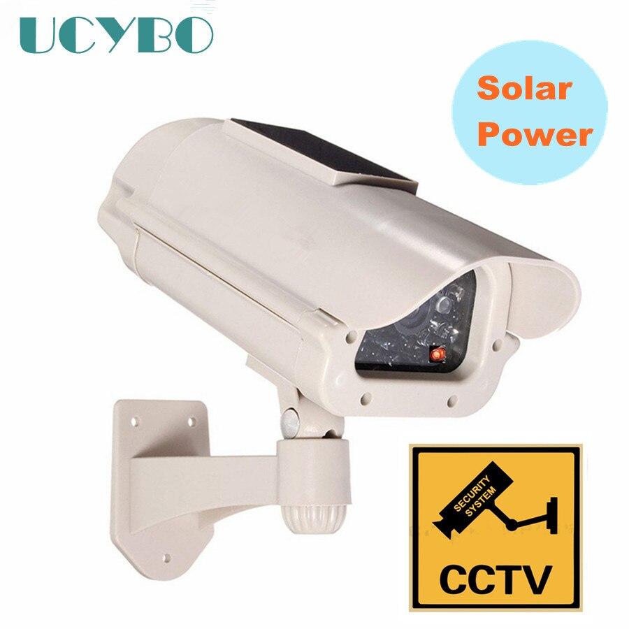 fake Dummy Solar Powered security camera Outdoor RED LED Flashing CCTV Surveillance fake Camera