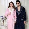 Outono Inverno Novos Amantes Roupões de Flanela Pijamas Mulheres Homens Quente Roupão de banho Coral Fleece Robe Femme Mujer Camison