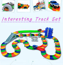 240pcs Race Track +2Pcs Car Miraculous Ramp Race Track Bend Flex Racing Track Set DIY Track Educational Toys For Children Boy(China)