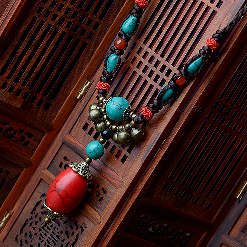 Maxi Ethnic Tibetan Necklace For Women Red Turkey Stone Pendant Bronze Bell Drop Long Rope Chain Fashion Vintage 2018 Jewelry