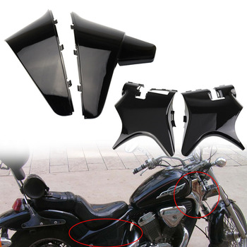 Black Motorcycle Battery Batteries Side Fairing Cover + Frame Neck Cover Cowl For Honda Shadow VT600 VLX 600 STEED400 1988-1998