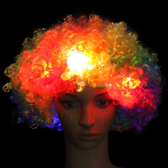 Light Up Funny Clown Accessories Colorful LED Flashing Clown Wigs for Clown  Comic Party 989f25c74
