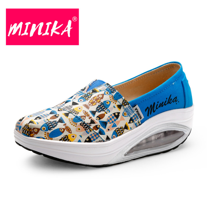 MINIKA New Designer Slip-On Women Flat Shoes Fashion Durable Air Cushion Women Casual Shoes Slip On Platform Shoes Women minika new arrival 2017 casual shoes women multicolor optional comfortable women flat shoes fashion patchwork platform shoes