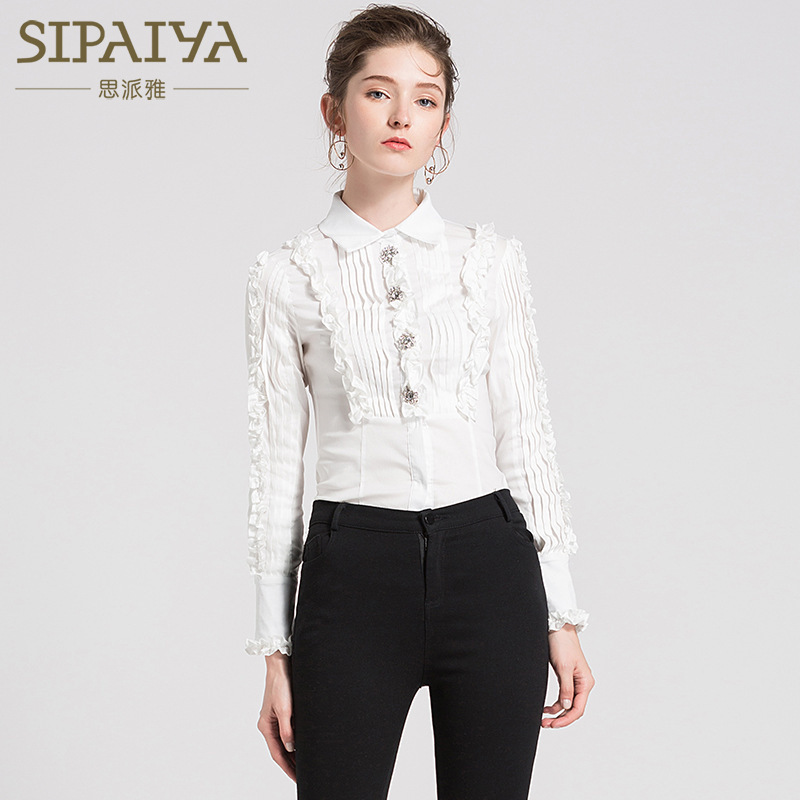 Women's Clothing New Chiffon Blouse Feminine Temperament Retro Pleated Lace Sleeve Water Drill Button Long Sleeve Shirt Good For Antipyretic And Throat Soother